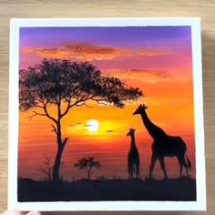 Canvas Painting Tutorials, Diy Canvas Art, Painting Techniques, Africa Painting, Africa Art, Africa Drawing, Giraffe Painting, African Art Paintings, Art Painting Gallery