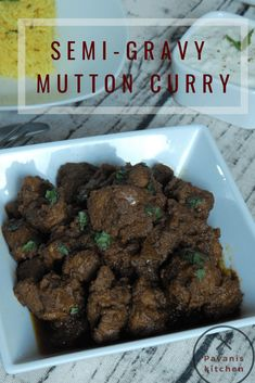 Semi-Gravy Mutton Curry which can be served with rice or roti, this curry is prepared with freshly ground exotic Indian spices. Quick Recipes, Quick Meals, Meat Recipes, Indian Food Recipes, Healthy Dinner Recipes, Real Food Recipes, Cooking Recipes, Simple Meals, Sauce Recipes