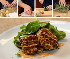 May Fish of the Month: Wild Alaska Pink Salmon | Check out our #RightBite team as they prepare a delectable #recipe of Pink Salmon Cakes with Spring Green #Salad.  |  #sustainable #seafood #greenliving #salmon #summer #spring