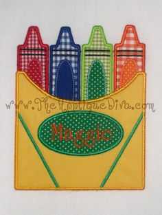 Back to School Crayon Box Embroidery Design by theappliquediva, $2.99