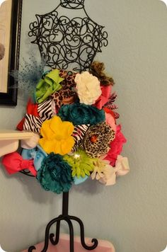 Cute way to display/store hairbows for little girls.  These models are always at TJs or HomeGoods.