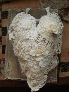 heart made from doilies and lace by moananui2000, via Flickr