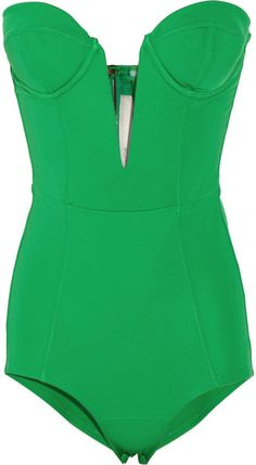 Strapless Stretch Crepe-Jersey Bodysuit looking for a cute one piece! Corsets, Looks Style, Style Me, Green Bodysuit, Look 2015, Swagg, Pin Up Girls, Look Fashion, Passion For Fashion
