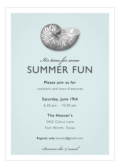 Summer Seashells Invitation.
