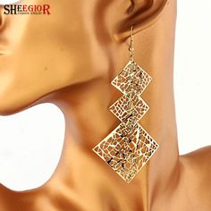 SHEEGIOR Bohemian Long Drop Earrings for Women Lovely Handmade Gold/Silver color Earring Hollow Squares Earrings Fashion Jewelry-in Drop Earrings from Jewelry & Accessories on Aliexpress.com | Alibaba Group