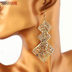 Bohemian Handmade Drop earrings for women Lovely Gold Silver plated Earring Alloy hollow 3 square Long Earrings fashion jewelry