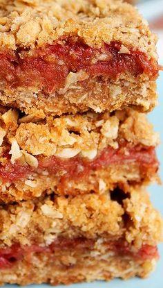 Rhubarb Oatmeal Squares Recipe, omg YES! Rhubarb Desserts, Just Desserts, Healthy Rhubarb Recipes, Frozen Rhubarb Recipes, Rhubarb Cookies, Rhubarb Scones, Healthy Food, Healthy Meals, Healthy Life