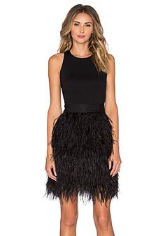MILLY Blair Feather Dress in Black | REVOLVE