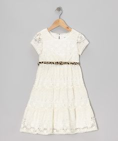 White Leopard Belted Lace Dress - Girls   Daily deals for moms, babies and kids