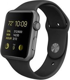 Apple - Apple Watch™ Sport 38mm Space Gray Aluminum Case - Space Gray Sports Band Model: MJ2X2LL/A