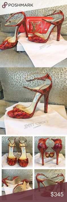 """Jimmy Choo Python Elaphe Red Strap Sandal Heels 39 Beautiful authentic Jimmy Choo Python open toe strappy sandals in """"elaphe red"""". Color is a beautiful red with corals and orange.  Match perfectly with my Louis Vuitton Sobe.. however they are a little too big on me. Great condition minor Wear overall and on bottom sole.  Comes with box & dust bag (not clutch, just for photo purposes). EU sz 39 fits more like us 8.5 Jimmy Choo Shoes Heels"""