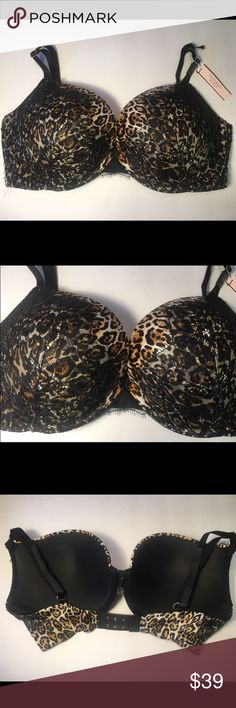 Victoria's Secret Very Sexy Push-Up Leopard This bra is from Victoria's Secret Very Sexy line. It features a Back Close and Push-Up to give the girls a one to two cup boost in size. This bra features leopard print with a black lace overlay and is super sexy! This bra is BRAND NEW WITH TAGS and size 34DD. Sister sizes are 32DDD and 36D! Victoria's Secret Intimates & Sleepwear Bras