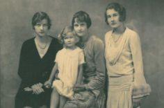 Socialite and Post Cereal Heiress Marjorie Merriweather Post is flanked by her  eldest daughter Adelaide on the left and Eleanor on the right, both from her 1st marriage to Edward Close, grandfather of actress Glenn Close. On her lap from her 2nd marriage is youngest daughter Nedenia Hutton whose father was E. F. Hutton. Nedenia grew up to be actress and socialite Dina Merrill.