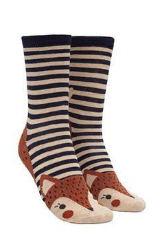 Striped Fox Graphic Crew Socks | Forever 21 - 2000173471
