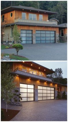 Clopay Avante Collection glass garage doors are a chameleon changing its appearance from a sleek opaque door during the day to a glow in the dark focal point at night. www.clopaydoor.com.