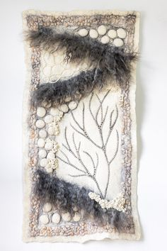 Hand Felted Wallhanging — The Felted Home Felt Wall Hanging, Wooden Poles, Nature Tree, Sunroom, Textile Art, Hand Sewing, Art Pieces, Artisan, Throw Pillows
