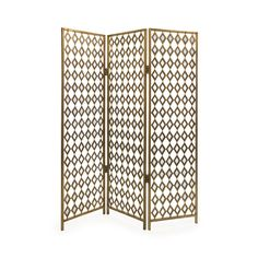 This stunning folding screen brings the sunlight into your home with an angular lattice in shining gold tones. Three panels provide wide coverage and versatility for such a glamorous addition. It's per...  Find the Sunshine Folding Screen, as seen in the Dressing Up Boho Collection at http://dotandbo.com/collections/dressing-up-boho?utm_source=pinterest&utm_medium=organic&db_sku=IMX0348