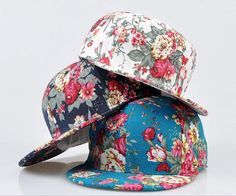 Adjustable women Snapback Hat  printed flower flat brim by Bestown, $13.50 Supreme Hat, Hip Hop Hat, Cotton Hat, Flat Cap, Cute Hats, Aliexpress, Headgear, Snapback Hats, Baseball Caps