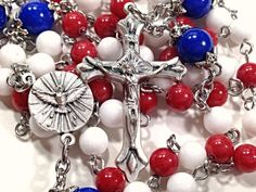 Rosary - Patriotic, Red White & Blue Mountain Jade Gemstones.