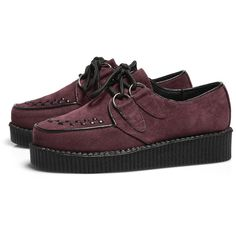 d3d7af5c2b9 AX Paris Wine Suede Creepers (€37) ❤ liked on Polyvore featuring shoes