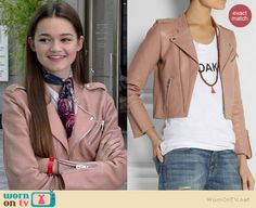 Emma's pink leather jacket on Red Band Society.  Outfit Details: http://wornontv.net/38432/ #RedBandSociety