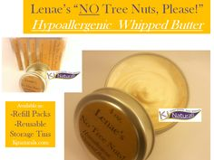 """Hypoallergenic whipped butter for tree nut & latex allergies: Lenae's """"No Tree Nuts, Please!"""" Butter. Contains NO parabens, NO shea butter, NO coconut oil, NO phthalates, NO additives, NO fragrance. Use daily to seal in moisture for hair & skin. Soften and use as a hot oil treatment before a shampoo. #hypoallergenic #treenutallergy #handmadebutter"""
