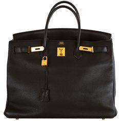 Hermes - GORGEOUS Hermes Birkin BAG BLACK 40 CM WITH GOLD HARDWARE ❤ liked on Polyvore