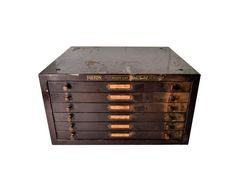 This is one of those pieces that you just dont come around very often. This large-sized metal watchmakers cabinet, chest of drawers was once filled