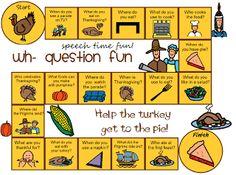 Speech Time Fun: Thanksgiving Wh- Question Board Game FREEBIE!