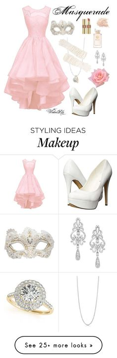 """Masquerade-Christine Daae from ""The Phantom of the Opera"""" by le-piano-argent on Polyvore featuring Allurez, BERRICLE, Portolano, Swarovski, Michael Antonio, Yves Saint Laurent, Tory Burch, Wrapped In Love, women's clothing and women's fashion"
