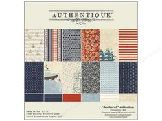 Authentique Collection Kit will get your creative juices flowing. Anchored Collection Kit contains 12 double sided patterned papers, 2 Foundations solids, 1 Enhancements cut apart paper sheet with theme titles and captions, Details stickers with patterns that include ships, anchors, floral, stripe, dot, maps, and more. Perfect for vacation and beach projects. All in shades of Red, Light Blue, Navy, Ecru and Cream. 12 x 12 inch.