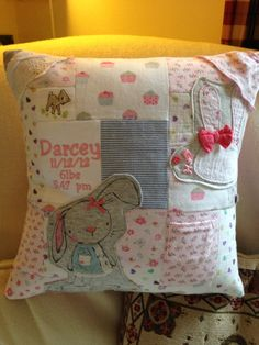 Baby grow keepsake cushion with a buttoned back by Littleelfstitches1 on Etsy https://www.etsy.com/listing/216765225/baby-grow-keepsake-cushion-with-a