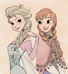 Queen Elsa and Princess Anna - Frozen ❄️ Anna Disney, Disney Rapunzel, Disney Frozen Elsa, Disney Fan Art, Disney Love, Disney Princesses, Disney Family, Disney Girls, Disney Stuff