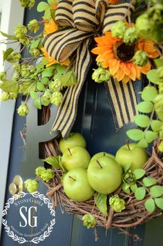 Wreath with Apples StoneGable September Decorations, Apple Decorations, Outdoor Decorations, Autumn Wreaths, Xmas Wreaths, Spring Wreaths, Door Wreaths, Porch Decorating, Decorating Ideas