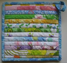Cute Pot Holder made from vintage sheet scraps.