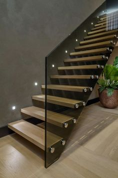 Amazing Luxury Staircase Design Ideas Modern House - Page 29 of 30 Glass Stairs Design, Home Stairs Design, Interior Stairs, Modern House Design, Home Interior Design, Glass Railing, Stairs Light Design, Staircase Design Modern, Staircase Ideas