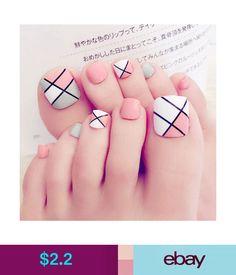 $2.2 - 24Pcs Foot False Nail Tips Cute Fake Toes Nails With Glue Toe Art Tool #ebay #Fashion