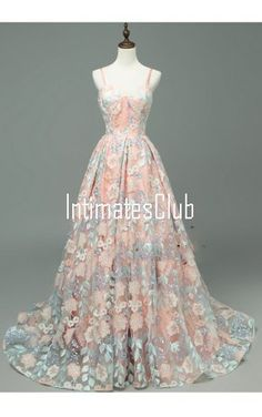 Spaghetti Strap Pink Sweetheart Ball Gown Floor-Length Sleeveless Lace Lace-Up Long Prom Dresses