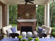 Green Bay Rd. Colonial - Shelley Johnstone Design Outdoor Rooms, Outdoor Living, Outdoor Decor, Georgian Style Homes, Blue Ceilings, My Old Kentucky Home, Forest House, House Tours, Family Room