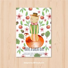 Pretty watercolor card with flowers and foxy Free Vector