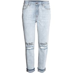 Jeans ($40) ❤ liked on Polyvore featuring jeans, pants, ripped blue jeans, blue jeans, destructed boyfriend jeans, denim jeans and low rise jeans