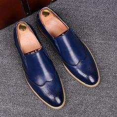Suede Leather Shoes, Leather Slip Ons, Leather Men, Calf Leather, Blue Loafers, Blue Shoes, Loafers Men, Moccasins Mens, Leather Moccasins