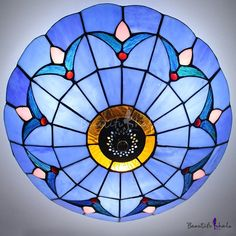 Blue Stained Glass 12 Inch Flush Mount Ceiling Light in Tiffany Style - Beautifulhalo.com