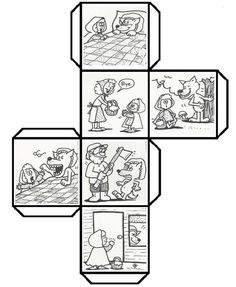 "Have students color, cut, fold, and paste to make a story cube that can be used to retell ""Little Red Ridinghood"" and talk about 3D shapes. (K.RL.2) (K.G.5) Leave a comment if you would like to see other story cubes. I had fun creating the template!  (Free pdf attached to easily print the template)"