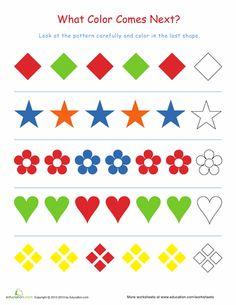 Worksheets: Finish the Pattern Kindergarten Homeschool Curriculum, Preschool Writing, Kindergarten Math Worksheets, Preschool Learning Activities, Coding For Kids, Math For Kids, Pattern Worksheet, Math Patterns, Printable Preschool Worksheets