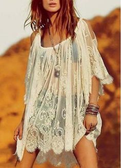 Semi Sheer Off The Shoulder Lace Beach Dress on sale only US$20.25 now, buy cheap Semi Sheer Off The Shoulder Lace Beach Dress at modlily.com