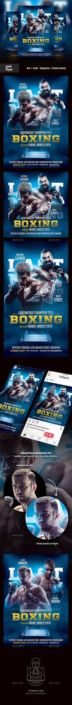 Buy Boxing Flyer by bornx on GraphicRiver. DESCRIPTION Boxing Flyer Template – Boxing flyer template PSD for Photoshop perfect to promote your boxing match or f. Sports Flyer, Color Effect, Model Photos, Flyer Template, Instagram Story, Photoshop, Boxing, Templates, Freedom
