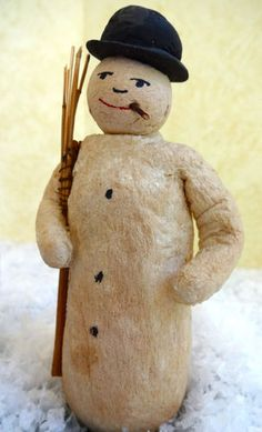 Antique German Christmas Spun Cotton Figure Snowman | eBay
