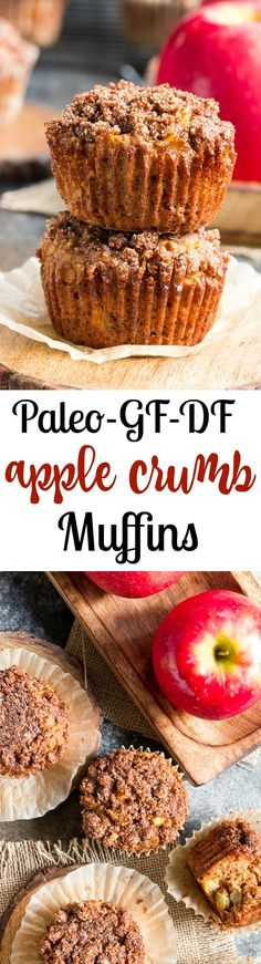 These sweet, tender and moist Paleo Apple Muffins have a deliciously addicting coconut sugar and cinnamon crumb topping and juicy apples throughout.  They're grain free, paleo, dairy-free, gluten-free, easy to make and family approved!