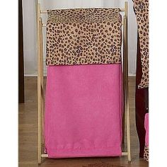 When you place this fun laundry hamper from the Cheetah Hot Pink and Brown Leopard Print collection by Sweet Jojo Designs in your little one's room you just might find yourself feeling wild about doing the laundry. This cheerful and stylish laundry hamper has a classic wood frame and a great combination of color and pattern. What's more, a mesh bag inside the hamper makes doing laundry so easy. Dimensions: 26.5in x 15.5in x 16in #timelesstreasure